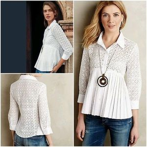 Anthro. HD in Paris Eyelet Empire Blouse Size 4